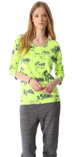MONROW Hawaiian Print Boyfriend Sweatshirt