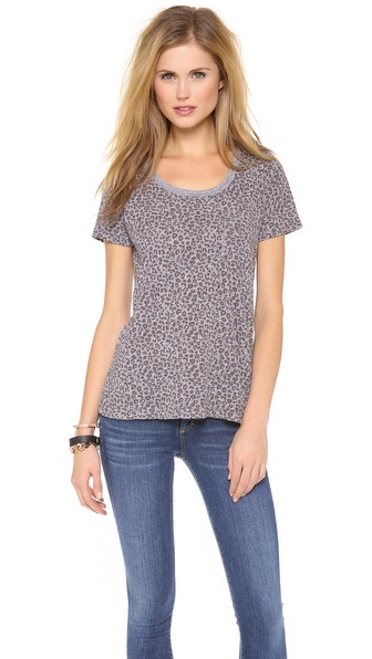MONROW Leopard Granite Pocket Tee
