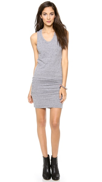MONROW Sleeveless Shirred Dress