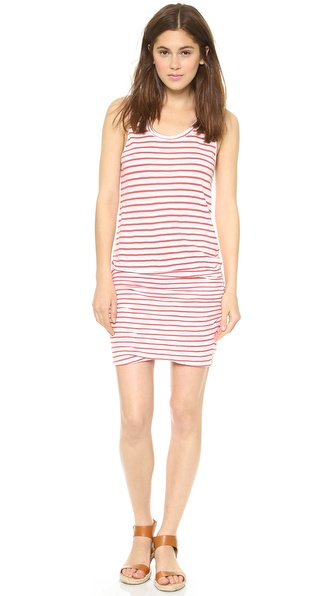 MONROW Red Striped Shirred Dress