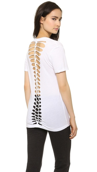 MONROW Braided V Neck Tee