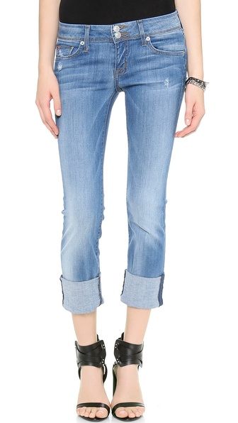 Hudson Ginny Crop Straight Cuffed Jeans - Voodoo Blue at Shopbop