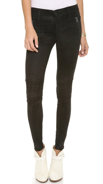 Hudson Stark Leather Moto Pants - Black at Shopbop / East Dane