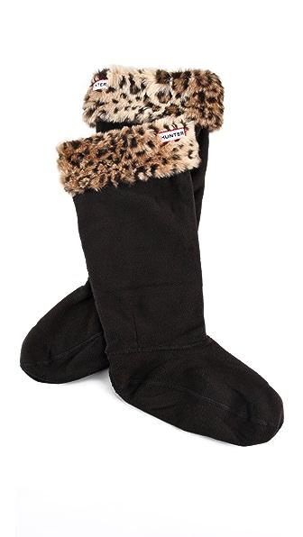 Hunter Boots Leopard Cuff Welly Socks