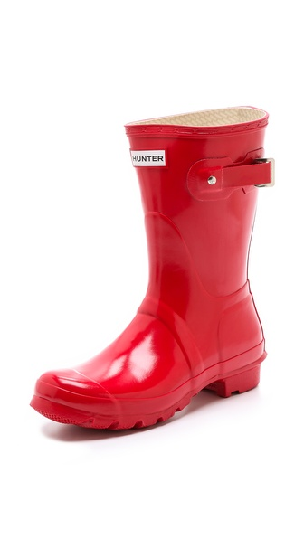 Hunter Boots Original Short Gloss Rain Boots - Pillar Box Red at Shopbop / East Dane