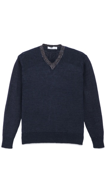 Inis Meain Washed Linen V Sweater