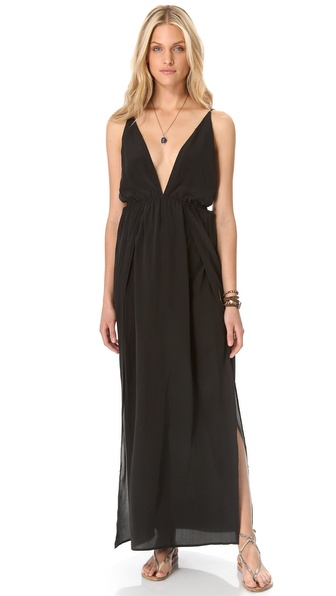 Indah River Split Maxi Dress :  black silk maxi dress neckline