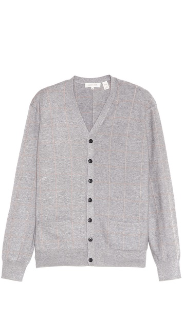 Inhabit Large Check Cardigan Sweater