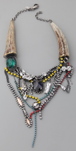 Iosselliani Fused Stone Deer Horn Necklace