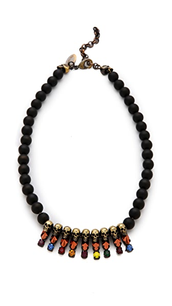 Iosselliani Black Agate Necklace with Skull Beads