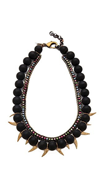 Iosselliani Black Agate Necklace with Rhinestones