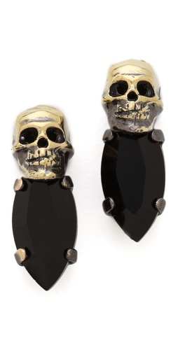 Shop Iosselliani Fused Stone Skull Studs and Iosselliani online - Accessories,Womens,Jewelry,Earring, online Store