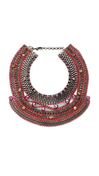 Iosselliani Studded Crystal Bib Necklace