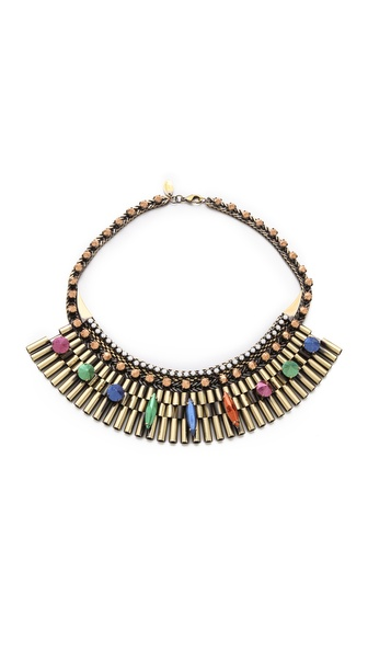Iosselliani Fused Stone Watch Link Bib Necklace
