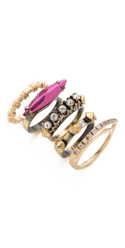 Shop Iosselliani Fused Stone Stacking Ring Set and Iosselliani online - Accessories,Womens,Jewelry,Rings, online Store