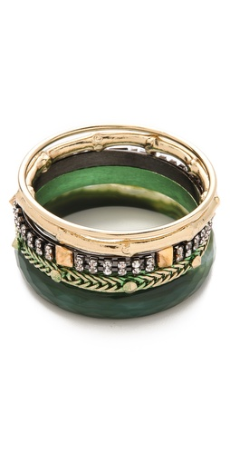Shop Iosselliani Brass & Faceted Agate Bangle Set and Iosselliani online - Accessories,Womens,Jewelry,Bracelet, online Store