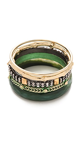 Iosselliani Brass & Faceted Agate Bangle Set