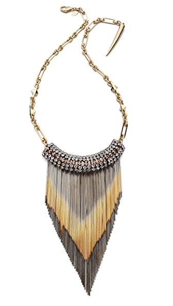 Iosselliani Long Shaded Fringe Brass Necklace