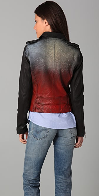 IRO Perri Leather Moto Jacket with Painted Back