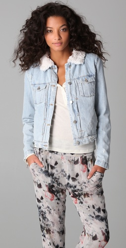 IRO Beata Denim Jacket with Faux Shearling Lining