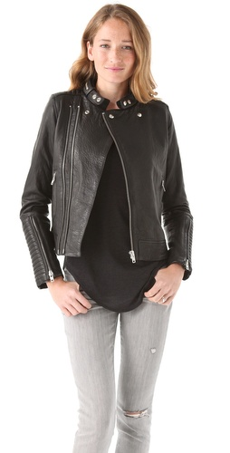 Shop IRO Adama Leather Zip Jacket and IRO online - Apparel,Womens,Jackets,Non_Blazer, online Store