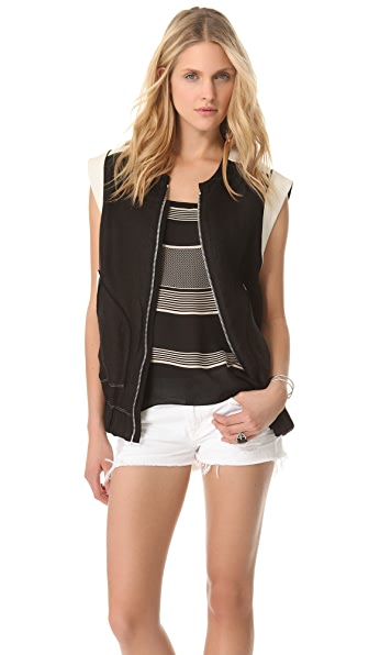IRO Konor Vest with Leather Trim