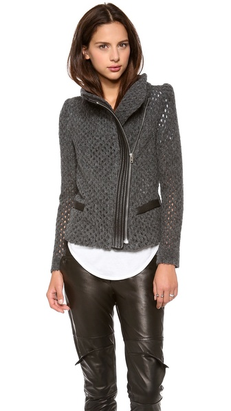 IRO Noa Open Knit Moto Jacket
