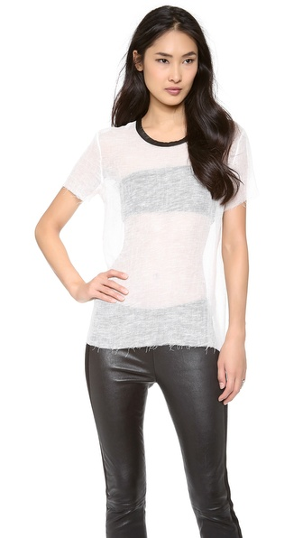 IRO Vera Leather Collar Tee