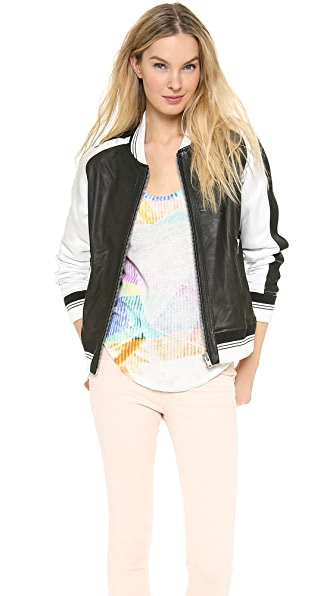 IRO Falia Leather Bomber Jacket