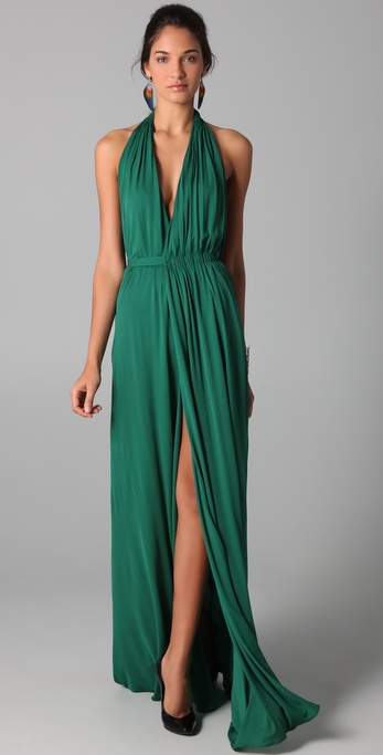 ISSA Long Halter Dress