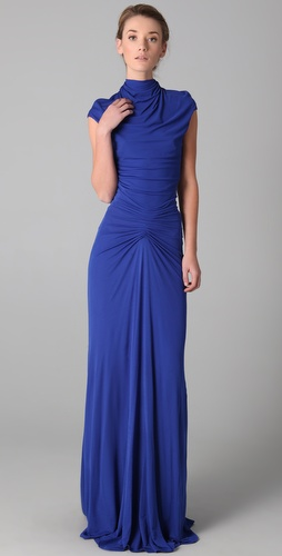 ISSA Cap Sleeve High Neck Gown