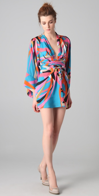 ISSA Tahiti Print Short Kimono Dress