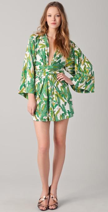 ISSA Print Short Kimono Dress
