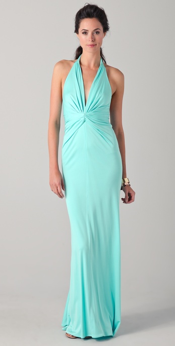 ISSA Long Sleeveless Halter Dress