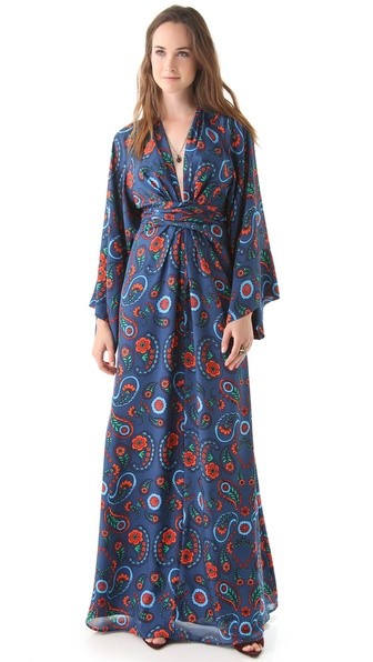 ISSA Printed Kimono Maxi Dress
