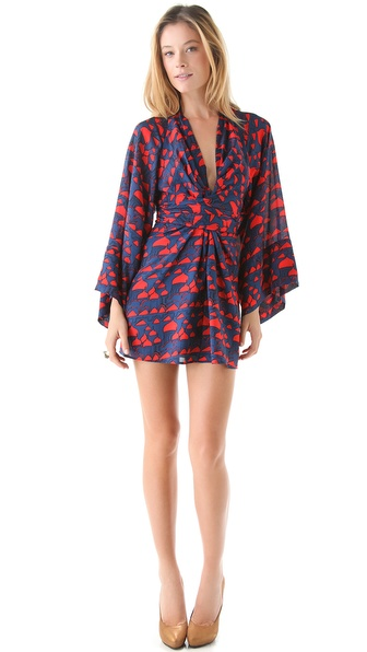 ISSA Printed Kimono Mini Dress