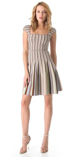ISSA Ribbed Striped Dress