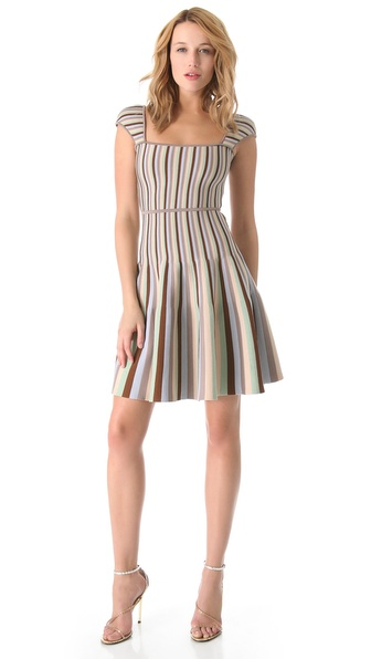 ISSA Ribbed Striped Dress