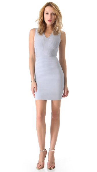 ISSA Ribbed V Neck Dress
