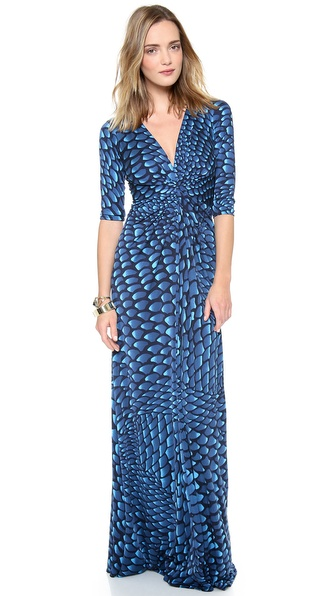 ISSA Print Knot Front Maxi Dress