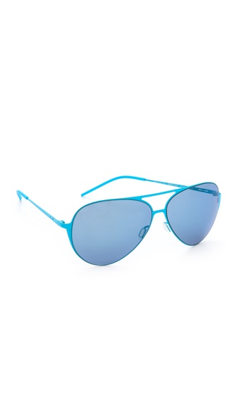 Italia Independent Thin Metal Aviator Sunglasses