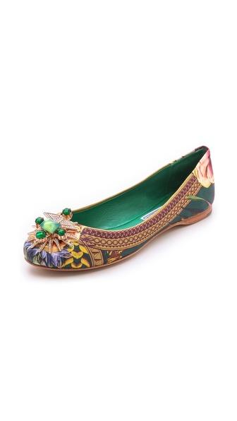 Ivy Kirzhner Tresor Embellished Printed Flats - Emerald