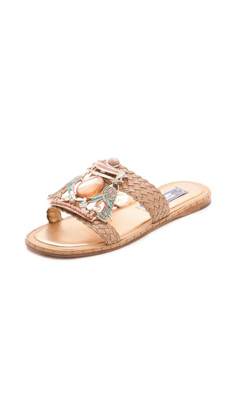 Shop Ivy Kirzhner online and buy Ivy Kirzhner Tutankaman Slide Sandals - Natural - Polished beads and colorful enameled birds gives these woven leather Ivy Kirzhner sandals a dash of ornate style. Petite studs trim the leather sole. Leather: Calfskin. Imported, China. This item cannot be gift boxed. Available sizes: 6,6.5,7,7.5,8,9,10