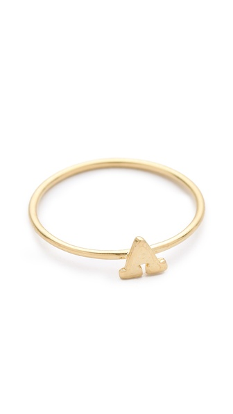 Jacquie Aiche Alphabet Letter Initial Waif Ring