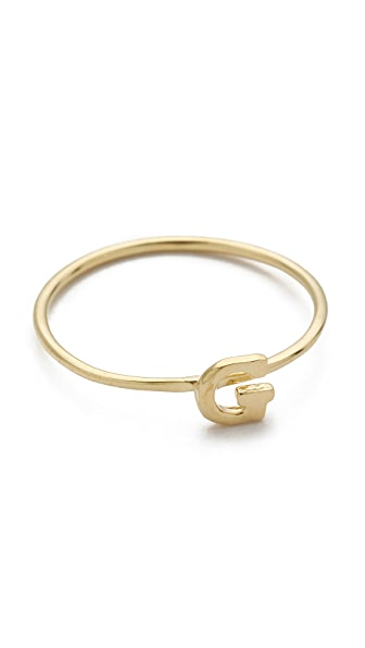 Jacquie Aiche JA Alphabet Letter Initial Waif Ring
