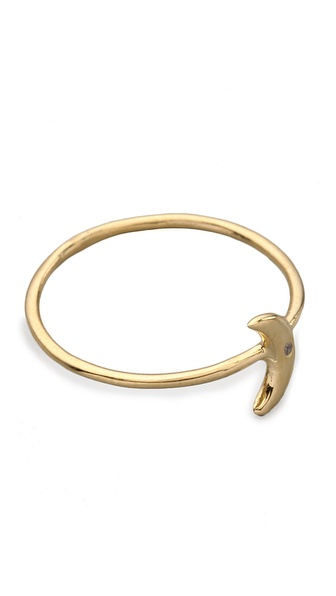 Jacquie Aiche White Diamond Mini Moon Waif Ring