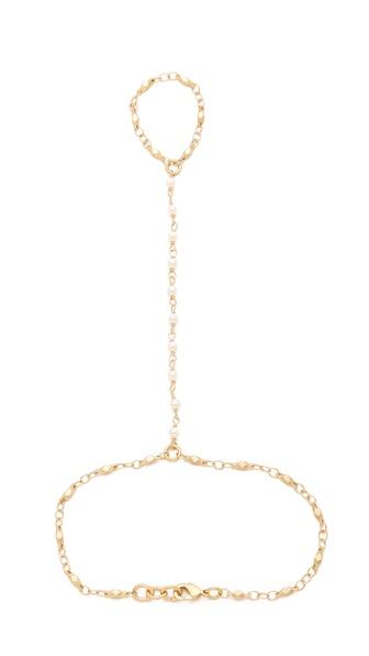 Jacquie Aiche JA White Pearl Vintage Chain Finger Bracelet