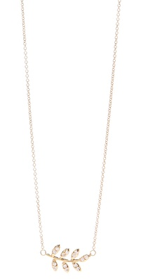 Jacquie Aiche Pave Leaf Necklace
