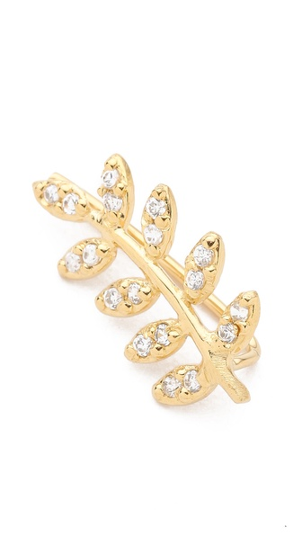 Jacquie Aiche Pave Leaf Ear Cuff