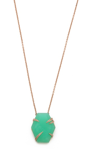 Jacquie Aiche Narrow Hexagon Chrysoprase Necklace